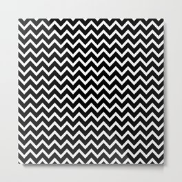 Zigzag (Black & White Pattern) Metal Print