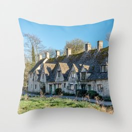 Arlington Row Cotswolds Landmark Historic Homes England Countryside  Throw Pillow