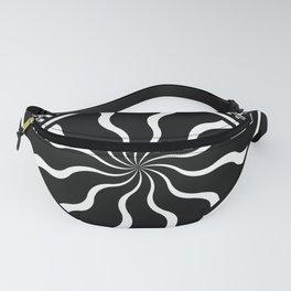 Wavy Black and White Diamond Pinwheels and Stripes 2 Digital Illustration Artwork Fanny Pack