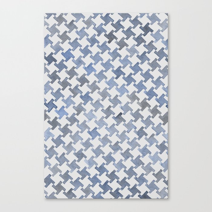 MODERN HOUNDSTOOTH (BLUE), hand-painted by Frank-Joseph Canvas Print