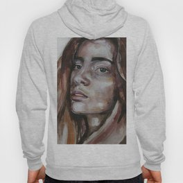 art work, watercolor portrait, beautiful face model with green eyes, original Hoody