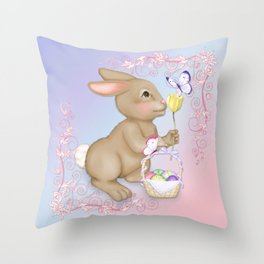 Brown Bunny and Basket Throw Pillow