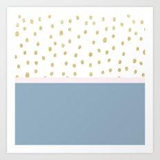 French blue blush pink gold glitter color block Art Print