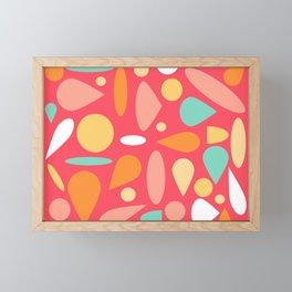 Coral And Mixed Shapes Framed Mini Art Print