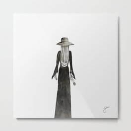 """Southern Gothic Witch Coven Watercolor; """"Rite"""" Metal Print"""