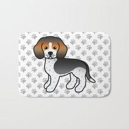 Cute Blue Ticked Beagle Dog Cartoon Illustration Bath Mat