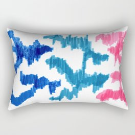 Bold Graphic Colorful Abstract Art Minimalist Tribal Pattern Mid Century Modern Blue And Pink Rectangular Pillow