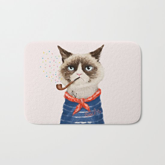 Sailor Cat V Bath Mat