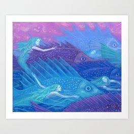 Ocean Nomads, Mermaids and Fish, Blue Pink Purple Art Print