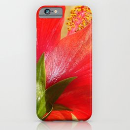Back View of A Beautiful Bright Red Hibiscus Flower iPhone Case