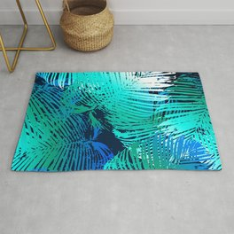 Sophisticated Aqua, Teal Blue & Green Feathered Leaves Rug