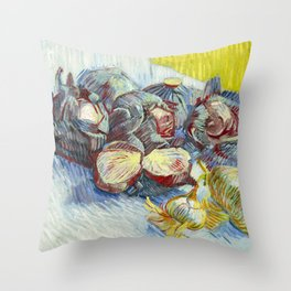 Red Cabbages and Onions (1887) by Vincent van Gogh  Throw Pillow