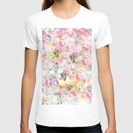 Pink elegant watercolor roses flowers pattern T-shirt