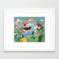 mario Framed Art Prints featuring Mario by Olly Blake