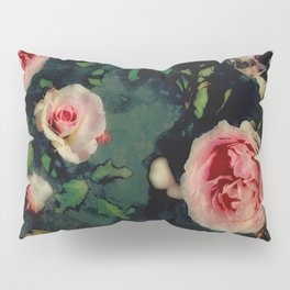 Big Pink Roses and Green Leaves Graphic Pillow Sham