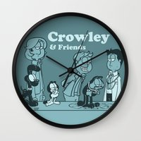 crowley Wall Clocks featuring Crowley & Friends - Supernatural by Justyna Rerak