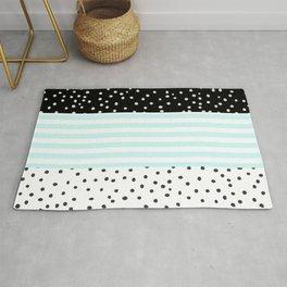 Modern black white teal stripes watercolor polka dots Rug
