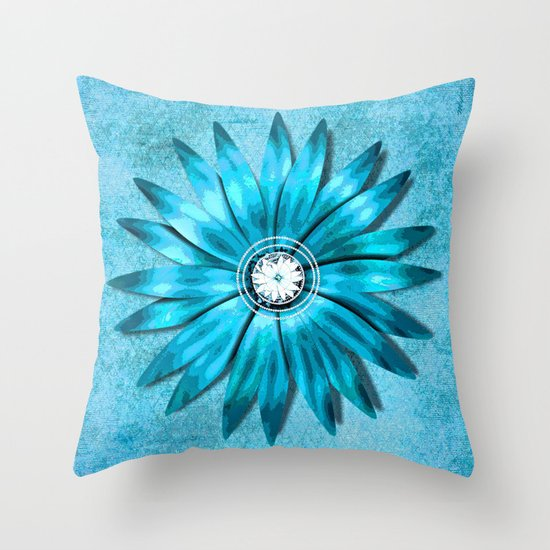 Throw Pillows Tiffany Blue : Tiffany Blue and Diamonds Too (Flower) Throw Pillow by Saundra Myles Society6