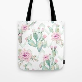 Cactus Chevron Southwestern Watercolor Tote Bag