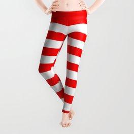 Narrow Horizontal Stripes - White and Red Leggings