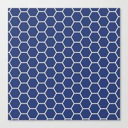 Blue honeycomb geometric pattern Canvas Print