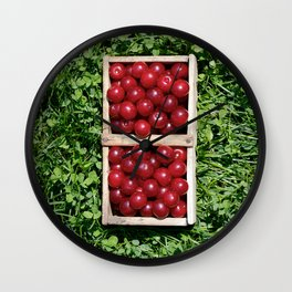 Harvesting Prunus cerasus sour cherrys fruit Wall Clock