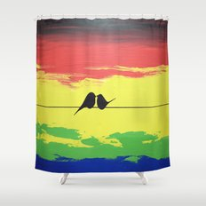 pointy birds on a wire art wall canvas Shower Curtain