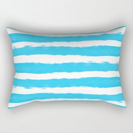 Simple aqua and white handrawn stripes - horizontal - for your summer on #Society6 Rectangular Pillow