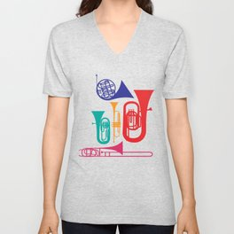 Colorful Wind Musical Instrument Musician Player Unisex V-Neck