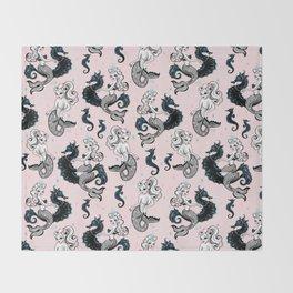 Pearla the Mermaid on Pink Throw Blanket
