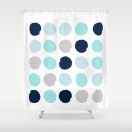 Minimal painted dot polkaed ot pattern blue navy indigo gender neutral nursery Shower Curtain