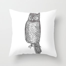 Indignant Screech Owl Throw Pillow