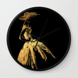 Black and gold retro fashion sketch Wall Clock