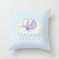 rainy cat Throw Pillow