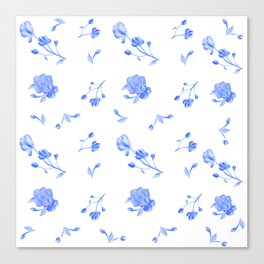 Charleston Floral Sky Blue Canvas Print