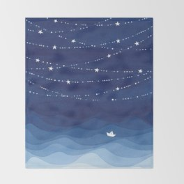 Garland of Stars IV, night sky Throw Blanket