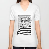 picasso V-neck T-shirts featuring Pablo Picasso by Benson Koo