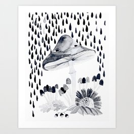 mushroom in the rain black and white illustration Art Print