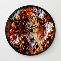 luke hemmings Wall Clocks featuring LUKE by Saundra Myles