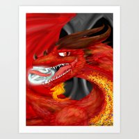 smaug Art Prints featuring Smaug by Chandlee Freudenberger