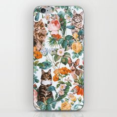 Cat and Floral Pattern III iPhone Skin