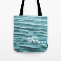 the cure Tote Bags featuring SaltWater Cure by Christine Hall
