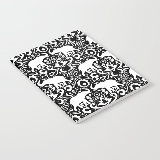 Elephant Damask Black and White Notebook