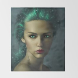 Beautiful Woman with Blue Hair Throw Blanket