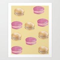 macaron Art Prints featuring Macaron, Macaron by Malina Syvo