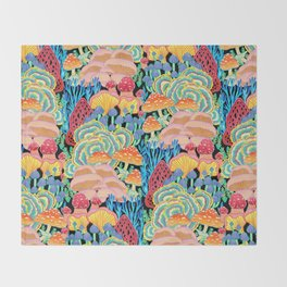 Fungi World (Mushroom world) - BKBG Throw Blanket