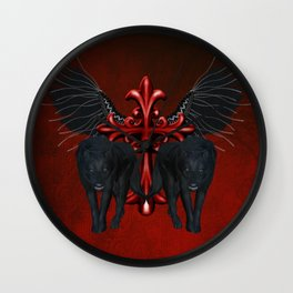 Awesome black wolf with red cross Wall Clock