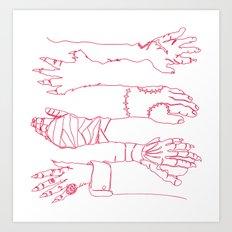 Classic Horror Hands (Red Line) Art Print