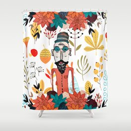 Old floral man Shower Curtain