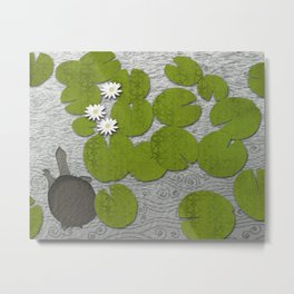 Water lilies with Florida Soft-shell Turtle Metal Print